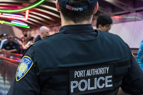 back of uniform of port authority police officer